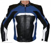 Motorradjacke Rindsleder schwarz blau schwarz