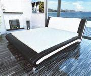 Design Doppelbett Textil Leder in