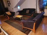 Couchgarnitur Leder blau Laauser