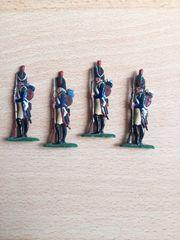 4 Zinnsoldaten Französische Gardejäger fein