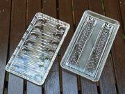 Vintage 2x Kristallglas Kuchenplatte Servierplatte