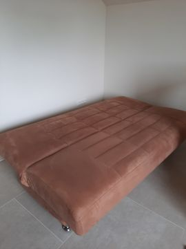 Polster, Sessel, Couch - Schlafcouch zimtfarben mit Bettkasten Federkern