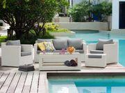 Lounge Set Rattan weiß 6-Sitzer