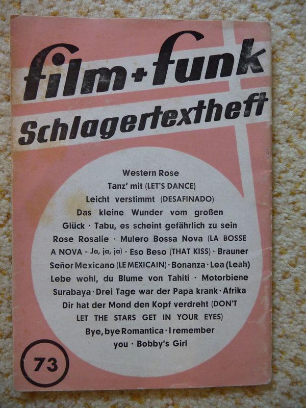 film + funk Schlagertextheft - Nr. 73 (1962/1963)