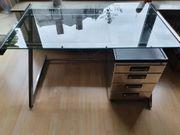 Glas Schreibtisch mit Rollcontainer