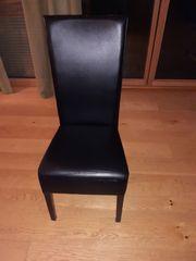Esszimmer Stühle Kunstleder schwarz Hochlehner