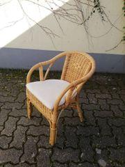 Handgeflochtener Korb Stuhl mit Lehne