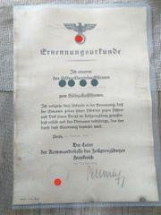 Ernennungsurkunde 2 Weltkrieg 100 Original