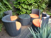 Gartenmöbel Garnitur aus Kunstoff-Rattan incl