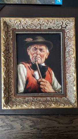 Kunst, Gemälde, Plastik - Bild Gemälde Mann mit Pfeife