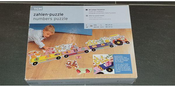 TCM Zahlen-Puzzle mit lustigen Tiermotiven