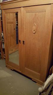 Holz-Bauernkleiderschrank antik mit Kleiderstange Spiegeltür