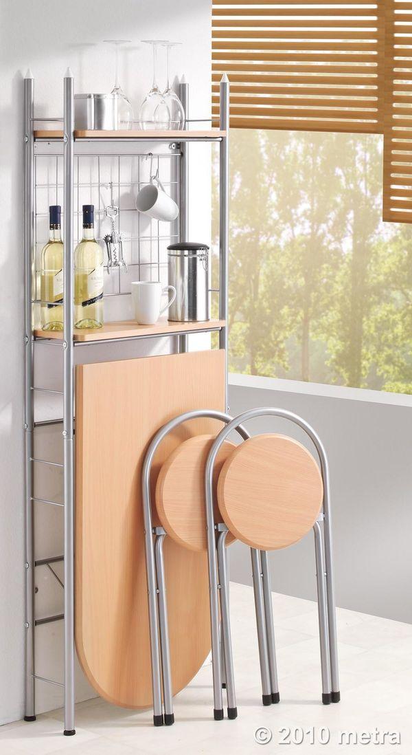 Küchentisch mit Regal und 2 Stühlen, klappbar, Holz NEU in ...