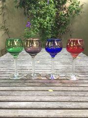 4 bunte antike französische Weingläser
