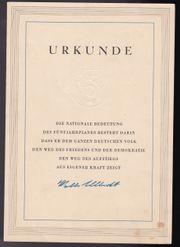 Urkunde Fünfjahrplanes von 1957 guter
