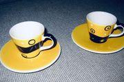 zwei Espresso Tassen mit Untersetzer