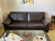 Ledercouch Sofa mit Hocker dunkelbraun