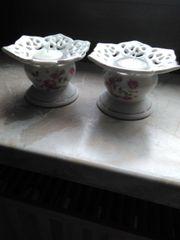 Kerzenständer Keramik mit Blumendekor und