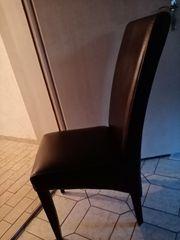 2 stabile Stühle Kunstleder dunkelbraun