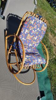 Kinder Sessel Schaukelstuhl Rattan Kinderschaukelstuhl
