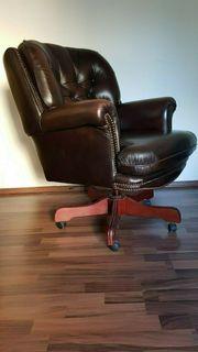 Chesterfield Ohrensessel Bürostuhl - echtes Leder -