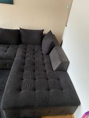 Wohnlandschaft Couch Polstergarnitur Anthrazit schwarz