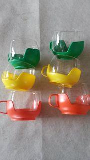 6 Gläser Bowlegläser Glas Plastik
