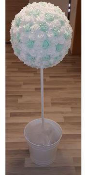 4 Blumenkugeln mintgrün weiß - Hochzeitsdeko
