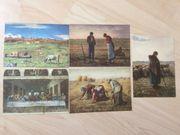 5 Gemälde-Ansichtskarten als Kunstdruck um