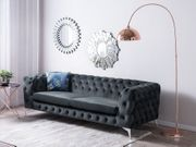 3-Sitzer Sofa Samtstoff grau SOTRA neu