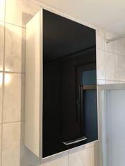 Schwarzer Bad Hängeschrank mit Glasfront