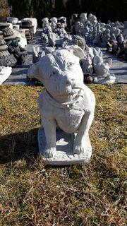 Steinguss Gartenfigur Hund Pittbull Beton