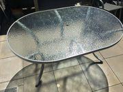 Gartentisch oval mit Glasplatte ca