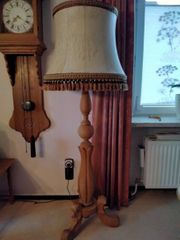 Stehlampe Eiche massiv mit Lederschirm