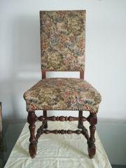 4 Stühle mit Gobelin Blumen
