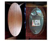 Glastisch oval mit zusätzlicher Holzabdeckplatte