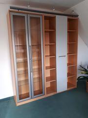 Schrankwand incl Vitrine und Bücherregal
