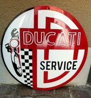 grosses Emailscild Ducati 40 cm