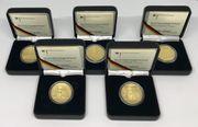 5 x 100 Euro Goldmünzen