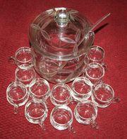 Bowlegefäß mit 12 Gläsern und