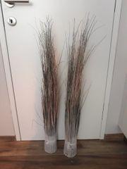 2 Deko Gras in Silber