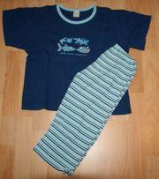 Blauer Sommer-Schlafanzug - Größe 122 - 128 - Pyjama