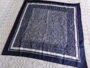 Vintage - Tuch Kopftuch dunkelblau weiß