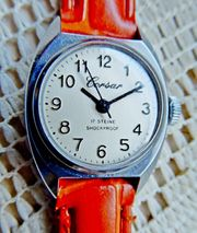 Mechan Damen-Marken-Armbanduhr Edelstahl neues Lederarmband -