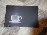 Keilrahmen-Bild Kaffee-Tasse Schwarz Weiß - 60