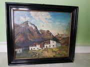 Berghütte schwarzer Rahmen Ölbild