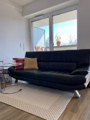 schwarzes Echt- Leder Sofa