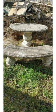 Steintisch mit Sitzgelegenheiten Gartenmöbel Garten-Auflösung