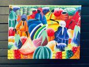 ÖLGEMÄLDE karibische Marktszene 40 x