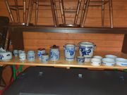 Steinguttöpfe blau-grau 17 verschiedene Teile